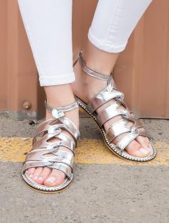Roux Gümüş Ayna Dekolte Sandalet