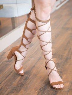 Troy Taba Süet Sarmal Bağlı Topuklu Sandalet