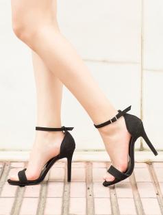 Katty Siyah Süet Topuklu Sandalet