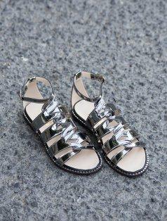 Roux Platin Ayna Dekolte Sandalet