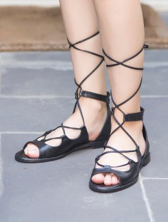 Anceint Siyah Sarmal Bağlı Dekolte Sandalet