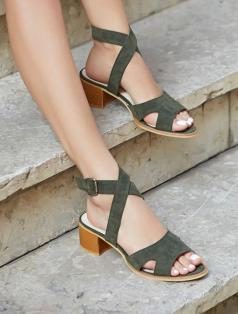 Utah Haki Yeşil Süet Dekolte Topuklu Sandalet