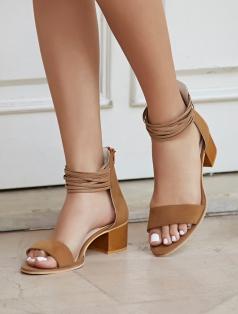 Denis Taba Süet Bantlı Topuklu Sandalet