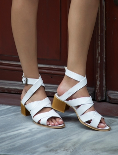 Arkansas Beyaz Topuklu Sandalet