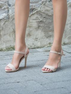 Evra Bej Süet Topuklu Sandalet