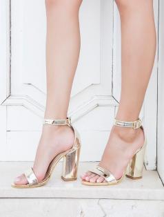 Roselyn Altın Ayna Kalın Topuklu Sandalet