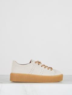 Rondo Bej Süet Kalın Tabanlı Spor Ayakkabı