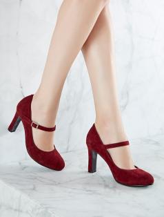 Elano Bordo Süet Topuklu Ayakkabı