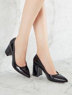 Bardot Siyah Mat Rugan Kalın Topuklu Stiletto