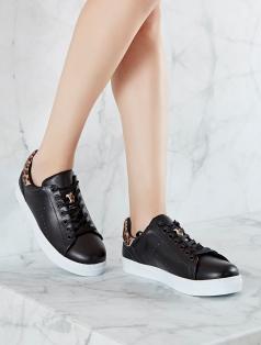 Gabby Siyah Leopar Kombin Beyaz Taban Spor Ayakkabı