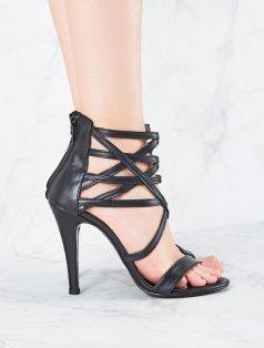 Katrine Siyah Pencereli Topuklu Sandalet