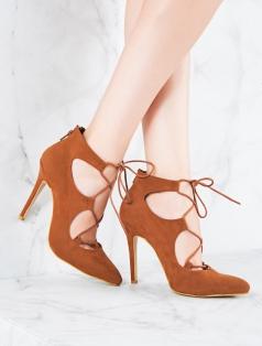 Avis Taba Süet Bağcık Dekolte Topuklu Ayakkabı