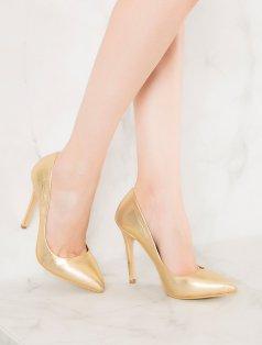 Liset Altın Stiletto Topuklu