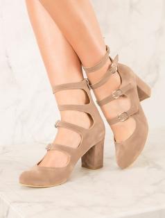 Martha Vizon Süet Çok Bantlı Dekolte Topuklu Ayakkabı