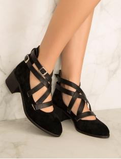 Kaly Siyah Süet Kombin Sarmal Bantlı Topuklu Ayakkabı