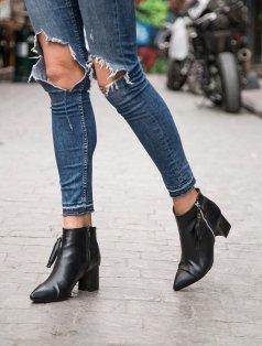 Amina Siyah Düşük Topuklu Bot