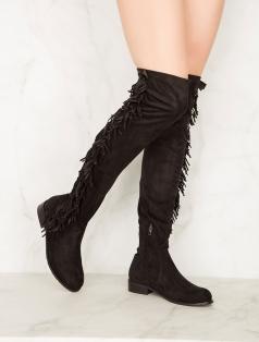 Britany Siyah Stretch Püsküllü Düz Çorap Çizme