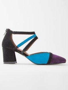 Trio Turkuaz Mor Siyah Kombin Topuklu Ayakkabı