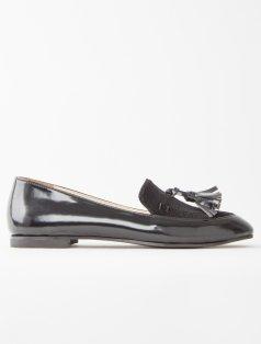 Clover Siyah Kombin Püsküllü Loafer