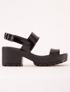 Robyn Siyah Mat Rugan Kalın Topuk Sandalet
