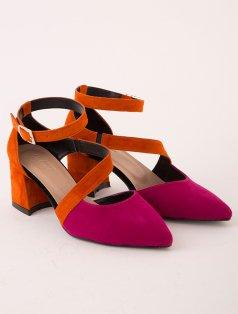 Tarlin Turuncu Fuşya Topuklu Ayakkabı