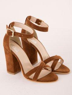 Selena Taba Süet Kalın Topuklu Sandalet