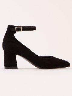Milka Siyah Süet Bilekten Bantlı Topuklu Ayakkabı