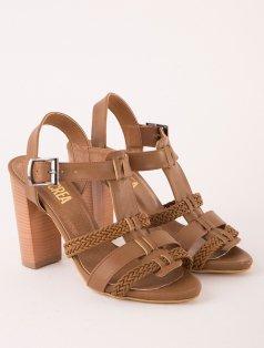 Sachi Taba Örgü Detaylı Topuklu Sandalet