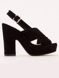 Bonbon Siyah Süet Platform Topuklu Sandalet