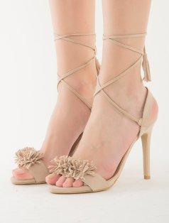 Clorinda Bej Süet Püskül Topuklu Sandalet
