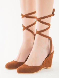 Clay Taba Süet Sarmal Bağlı Dolgu Topuklu Sandalet