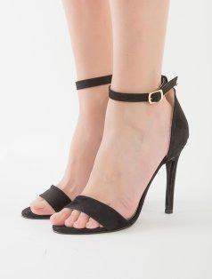Alexa Siyah Süet Bilekten Bağlı Dekolte Sandalet