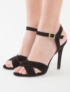 Lina Siyah Süet Çapraz Bantlı Topuklu Sandalet