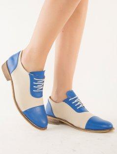 Mocca Mavi Bej Kombin Loafer Ayakkabı