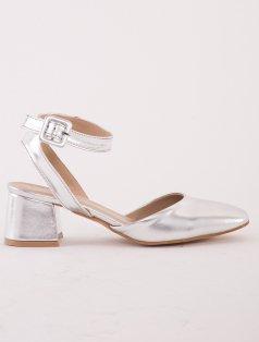 Meg Gümüş Alçak Topuklu Dekolte Sandalet