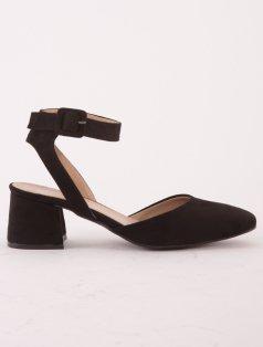 Meg Siyah Süet Alçak Topuklu Dekolte Sandalet