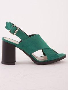 Maya Yeşil Süet Dekolte Topuklu Sandalet