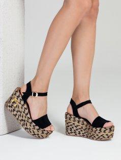 Honor Siyah Süet Dolgu Topuklu Sandalet