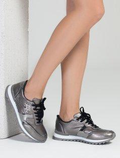 Pia Kurşun Parlak Taşlı Spor Ayakkabı