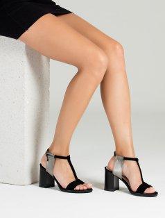 Arvilla Siyah Süet Platin Kombin Topuklu Sandalet