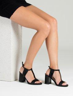 Arvilla Siyah Rugan Kroko Kombin Topuklu Sandalet