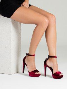 Serena Bordo Hakiki Kadife Topuklu Ayakkabı