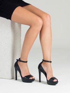Lorella Siyah Hakiki Deri Topuklu Ayakkabı