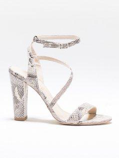 Virginia Bej Yılan Dekolte Topuklu Ayakkabı