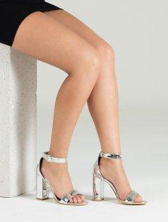 Roselyn Gümüş Ayna Kalın Topuklu Sandalet