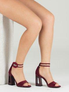 Margarita Bordo Süet Topuklu Sandalet