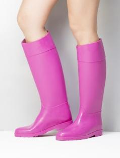 Delicia Fuşya Rugan Kombin Yağmur Çizme