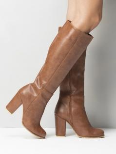 Cherina Taba Deri Topuklu Çizme